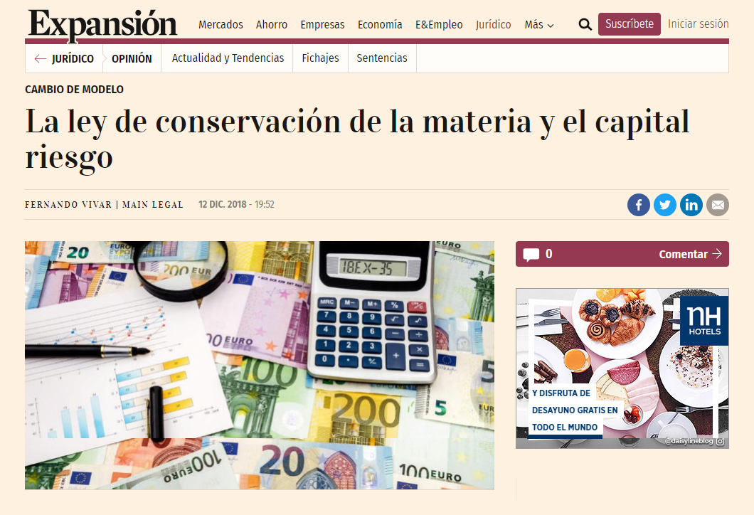 Expansión – La Ley De Conservación De La Materia Y El Capital Riesgo