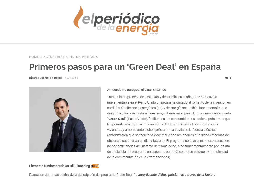 El Periódico De La Energía – Primeros Pasos Para Un 'Green Deal' En España